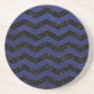 CHEVRON3 BLACK MARBLE & BLUE LEATHER COASTER