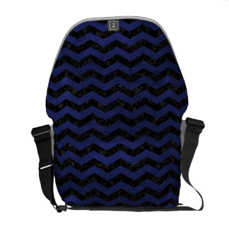 CHEVRON3 BLACK MARBLE & BLUE LEATHER COURIER BAG