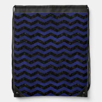 CHEVRON3 BLACK MARBLE & BLUE LEATHER DRAWSTRING BAG