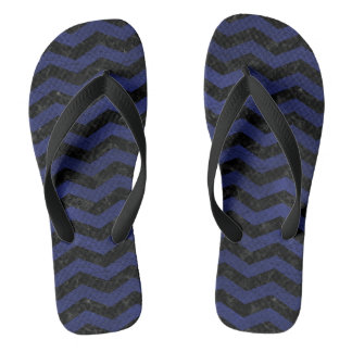 CHEVRON3 BLACK MARBLE & BLUE LEATHER FLIP FLOPS