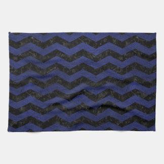 CHEVRON3 BLACK MARBLE & BLUE LEATHER KITCHEN TOWEL