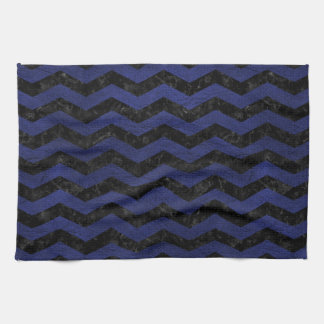 CHEVRON3 BLACK MARBLE & BLUE LEATHER KITCHEN TOWELS