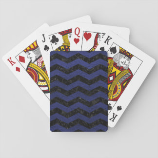 CHEVRON3 BLACK MARBLE & BLUE LEATHER PLAYING CARDS