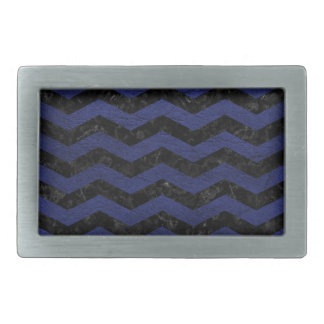 CHEVRON3 BLACK MARBLE & BLUE LEATHER RECTANGULAR BELT BUCKLES