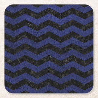 CHEVRON3 BLACK MARBLE & BLUE LEATHER SQUARE PAPER COASTER