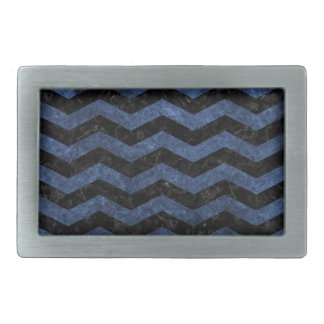 CHEVRON3 BLACK MARBLE & BLUE STONE BELT BUCKLES