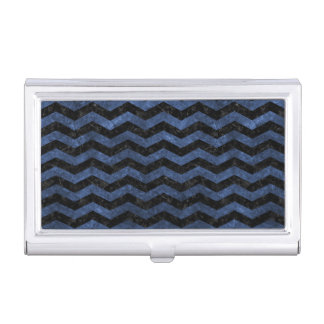 CHEVRON3 BLACK MARBLE & BLUE STONE BUSINESS CARD HOLDER