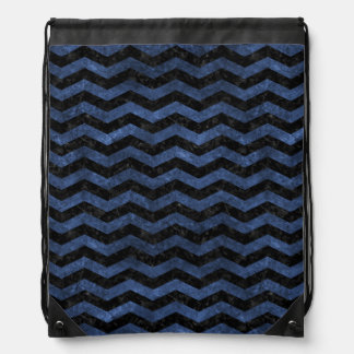 CHEVRON3 BLACK MARBLE & BLUE STONE DRAWSTRING BAG