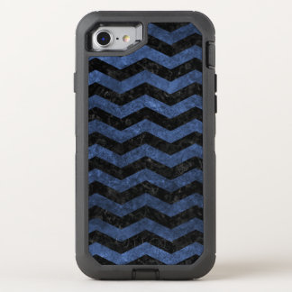 CHEVRON3 BLACK MARBLE & BLUE STONE OtterBox DEFENDER iPhone 8/7 CASE