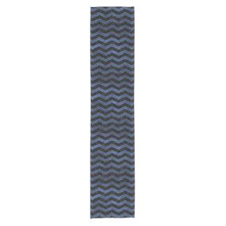 CHEVRON3 BLACK MARBLE & BLUE STONE SHORT TABLE RUNNER