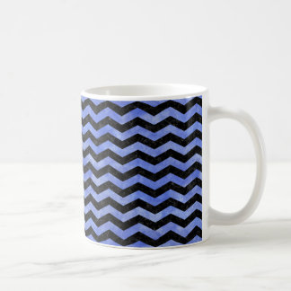 CHEVRON3 BLACK MARBLE & BLUE WATERCOLOR COFFEE MUG