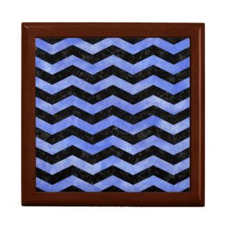 CHEVRON3 BLACK MARBLE & BLUE WATERCOLOR GIFT BOX