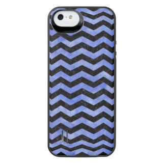 CHEVRON3 BLACK MARBLE & BLUE WATERCOLOR iPhone SE/5/5s BATTERY CASE