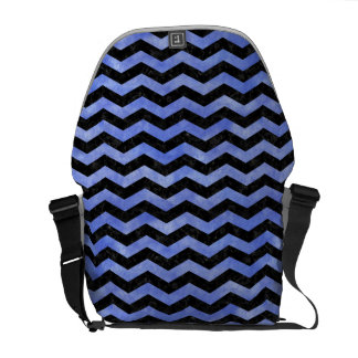 CHEVRON3 BLACK MARBLE & BLUE WATERCOLOR MESSENGER BAG