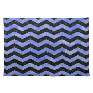 CHEVRON3 BLACK MARBLE & BLUE WATERCOLOR PLACEMAT