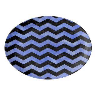 CHEVRON3 BLACK MARBLE & BLUE WATERCOLOR PORCELAIN SERVING PLATTER