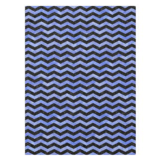 CHEVRON3 BLACK MARBLE & BLUE WATERCOLOR TABLECLOTH