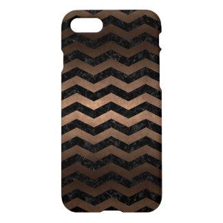 CHEVRON3 BLACK MARBLE & BRONZE METAL iPhone 8/7 CASE