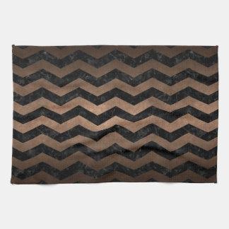 CHEVRON3 BLACK MARBLE & BRONZE METAL KITCHEN TOWEL
