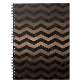 CHEVRON3 BLACK MARBLE & BRONZE METAL NOTEBOOKS