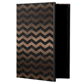CHEVRON3 BLACK MARBLE & BRONZE METAL POWIS iPad AIR 2 CASE