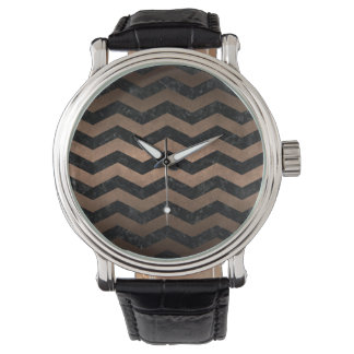 CHEVRON3 BLACK MARBLE & BRONZE METAL WATCH