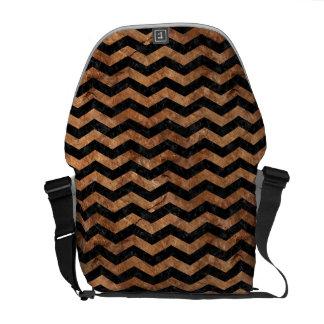 CHEVRON3 BLACK MARBLE & BROWN STONE COURIER BAG