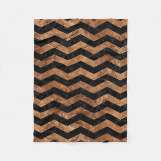 CHEVRON3 BLACK MARBLE & BROWN STONE FLEECE BLANKET