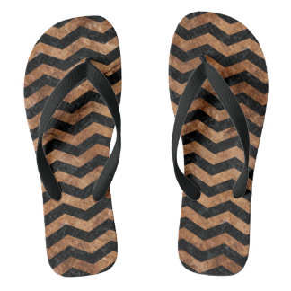 CHEVRON3 BLACK MARBLE & BROWN STONE FLIP FLOPS