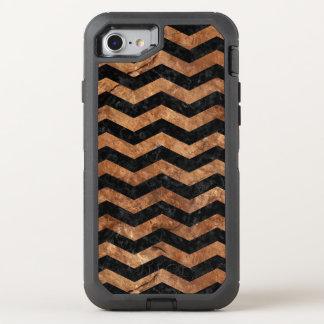 CHEVRON3 BLACK MARBLE & BROWN STONE OtterBox DEFENDER iPhone 7 CASE