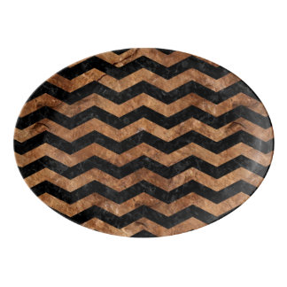 CHEVRON3 BLACK MARBLE & BROWN STONE PORCELAIN SERVING PLATTER