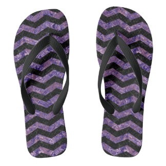 CHEVRON3 BLACK MARBLE & PURPLE MARBLE FLIP FLOPS