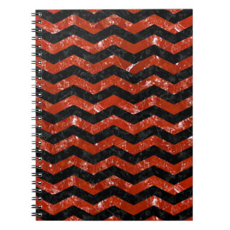 CHEVRON3 BLACK MARBLE & RED MARBLE NOTEBOOKS
