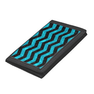 CHEVRON3 BLACK MARBLE & TURQUOISE MARBLE TRIFOLD WALLET