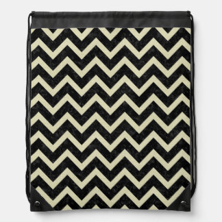 CHEVRON9 BLACK MARBLE & BEIGE LINEN DRAWSTRING BAG