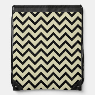 CHEVRON9 BLACK MARBLE & BEIGE LINEN (R) DRAWSTRING BAG