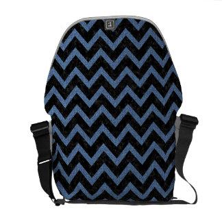 CHEVRON9 BLACK MARBLE & BLUE DENIM COURIER BAG
