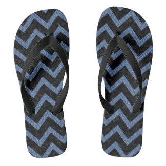 CHEVRON9 BLACK MARBLE & BLUE DENIM FLIP FLOPS