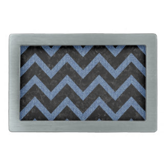 CHEVRON9 BLACK MARBLE & BLUE DENIM RECTANGULAR BELT BUCKLES