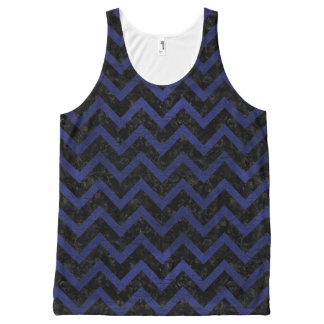CHEVRON9 BLACK MARBLE & BLUE LEATHER All-Over-Print TANK TOP