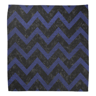 CHEVRON9 BLACK MARBLE & BLUE LEATHER BANDANA