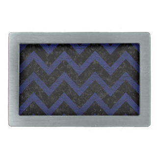 CHEVRON9 BLACK MARBLE & BLUE LEATHER BELT BUCKLE
