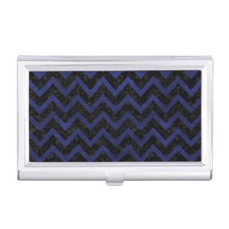CHEVRON9 BLACK MARBLE & BLUE LEATHER BUSINESS CARD HOLDER