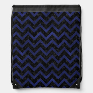 CHEVRON9 BLACK MARBLE & BLUE LEATHER DRAWSTRING BAG