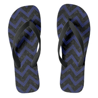 CHEVRON9 BLACK MARBLE & BLUE LEATHER FLIP FLOPS