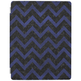 CHEVRON9 BLACK MARBLE & BLUE LEATHER iPad COVER