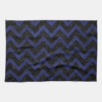 CHEVRON9 BLACK MARBLE & BLUE LEATHER KITCHEN TOWEL