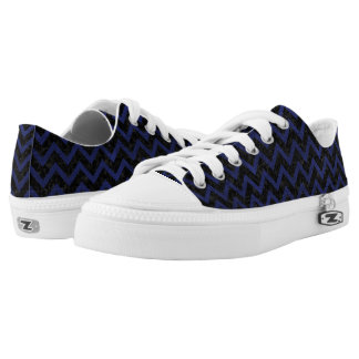 CHEVRON9 BLACK MARBLE & BLUE LEATHER Low-Top SNEAKERS
