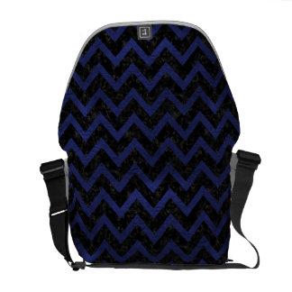 CHEVRON9 BLACK MARBLE & BLUE LEATHER MESSENGER BAG