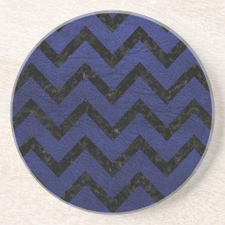 CHEVRON9 BLACK MARBLE & BLUE LEATHER (R) COASTER